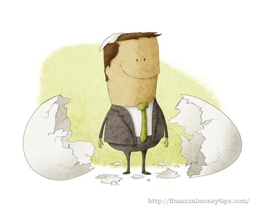 businessman born from an egg